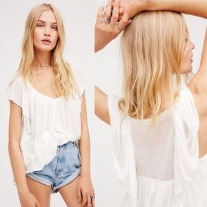 NWOT Free People Forever & Always Shirt White